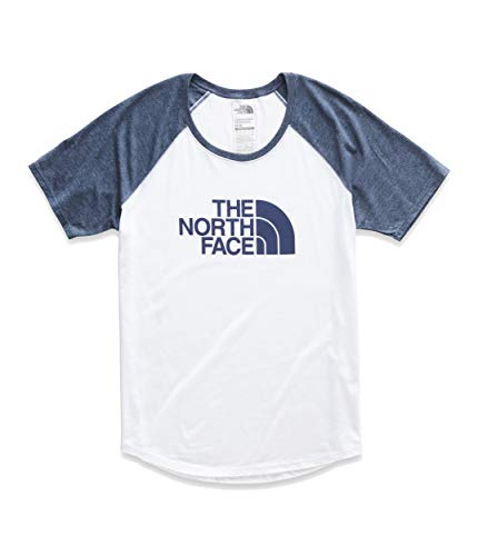 The North Face Women's Short Sleeve Half Dome Graphic Tri-Blend Baseball Tee, TNF White Heather/Blue Wing Teal Heather, Size XL