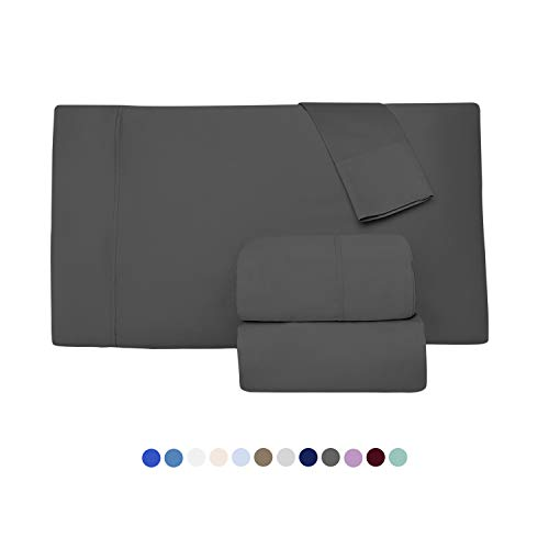 1000 Thread Count 100 Long Staple Egyptian Pure Cotton Sateen Weave Set Of 2 Standard Silky Soft Smooth Dark Grey Pillow Cases