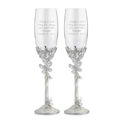 (Butterfly Toasting Flutes - Personalized Wedding G)