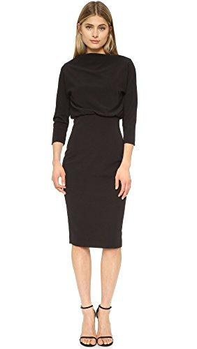 badgley-mischka-womens-3-4-sleeve-blouson-dress-black-m