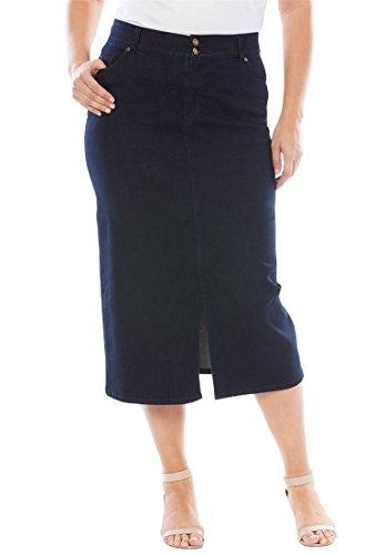 's Plus Size Tummy-Control Denim Maxi Skirt Indigo,24 W (Denim London Skirt)