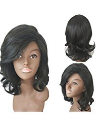 YaRui 12quot 30cm Short Curly Side Bangs Bob Haircut Heat Resistant Wigs for Women with Free Wig Cap Black