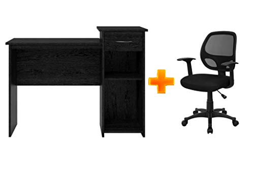 Furniture Office/Computer Desk with Adjustable Shelf in Black Ebony Ash Plus Mesh Back Computer Chair in Black - Bundle Set