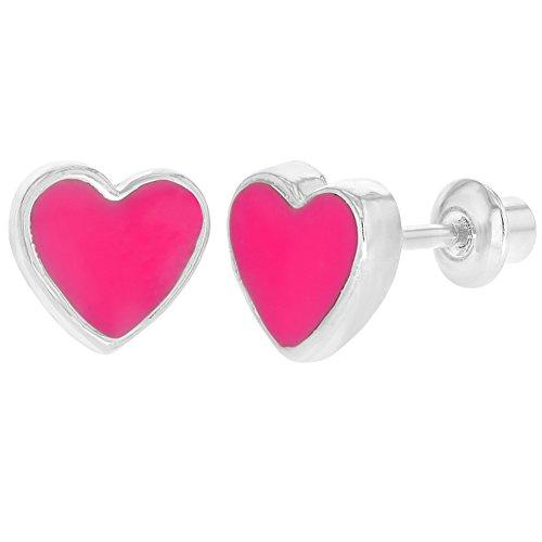 Boucles d'oreille avec fermoir à vis pour fille Cœur en émail fuchsia Plaqué rhodium 6mm