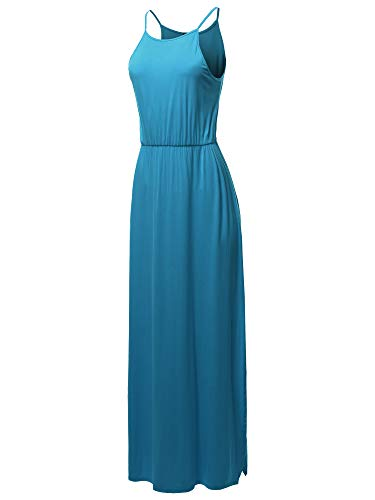 SSOULM Women's Halter Neck Maxi Dress with Side Slit and Plus Size Turquoise 3XL (Turquoise Maxi Dress Plus Size)