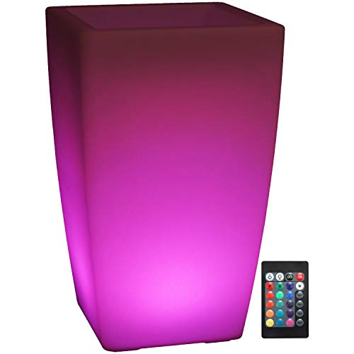 Sunnydaze Indoor/Outdoor LED Light Square Flower Pot with Remote Control and Rechargeable Battery, RGB Color-Changing, 19-Inch Tall