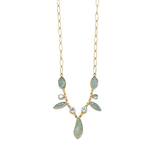 Blue Topaz and Aquamarine Necklace Gold-plated Sterling Silver by AzureBella Jewelry