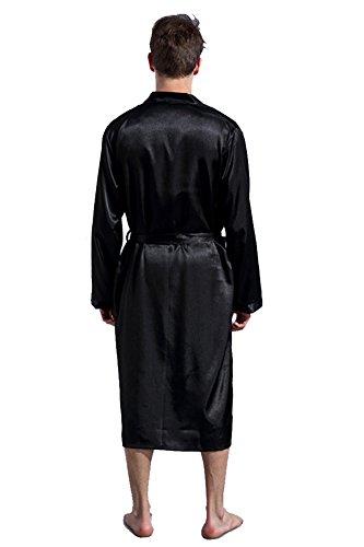Leggera Cuckoo Vestaglia Uomo Kimono Notte Nero Camicia Da RRO4wnUpq