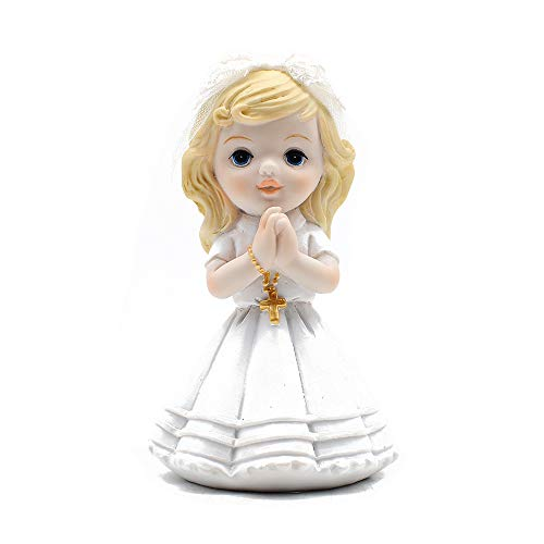 (Resin Praying Girl with Rosary Figurine Keepsake My First)