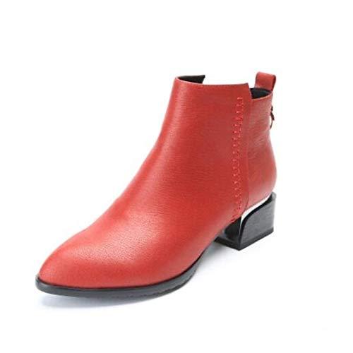 IWxez Bottes Mode pour pour Mode Femmes Bottes d'hiver en Cuir Nappa Talon Chunky Chaussures à Bout fermé/Bottines Noir/Rouge 36.5 EU|Red f0a441