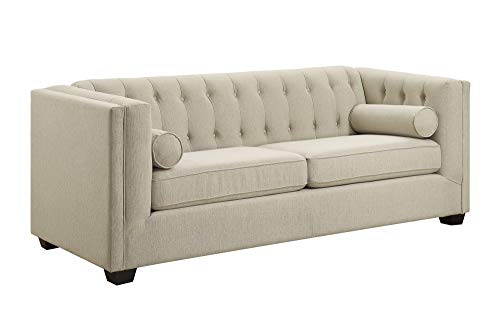 (Cairns Stationary Sofa with Tufted Back and Lumbar Pillows)