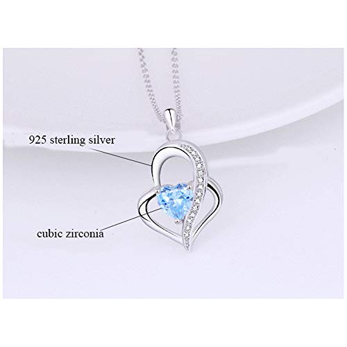 YIENMALI 925 Sterling Silver Blue Heart Necklaces Infinity Love Pendant Neckalce Jewelry for Wife Girlfriend Mom Daughter Her (Created-Aquamarine)