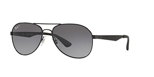 Ray-Ban Men's Metal Man Polarized Aviator Sunglasses, Black, 61 - Case Rayban Aviator