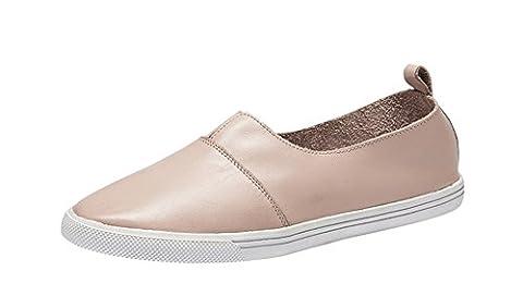 Freerun Women's Casual Slip-on Flat Shoes Leather Fashion Sneaker (7.5 B(M)US,pink) (Rugged Bear Plush)