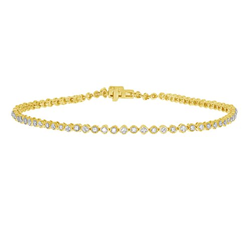 1/4 ctw Brilliant Genuine Diamond Tennis Bracelet 10K Solid Gold for Ladies (yellow-gold)