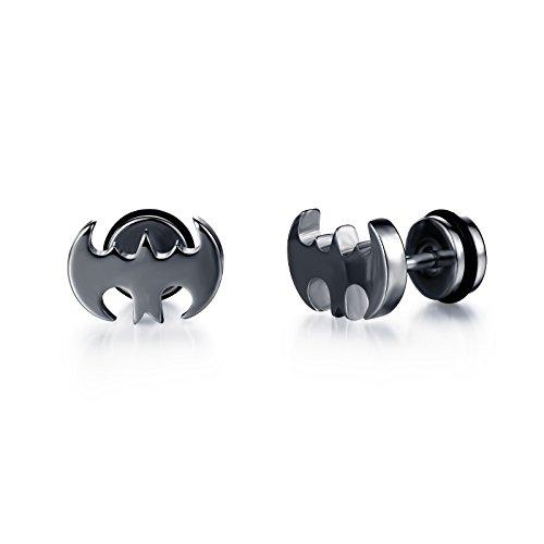 Fashion Earrings Titanium Steel Bat Gold/Black Stud Earrings for Women/Men (Batman Earrings For Men)