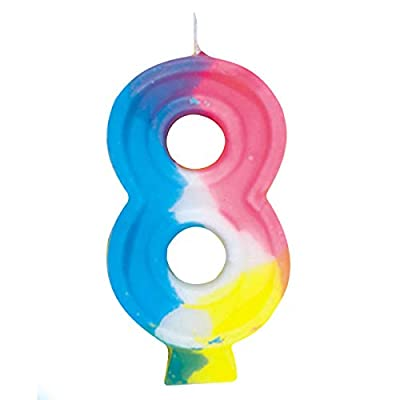 Rainbow Number 8 Birthday Candle: Childrens Cake Candles: Kitchen & Dining