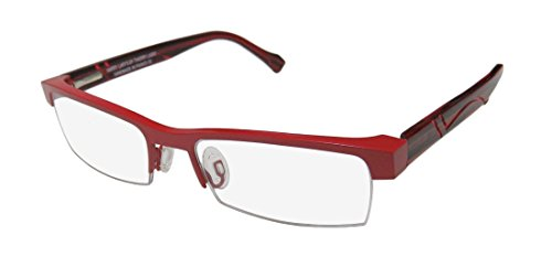 Harry Lary's Empiry Mens/Womens Designer Half-rim Spring Hinges Eyeglasses/Spectacles (51-17-135, Red / - Half Bottom Rim Glasses