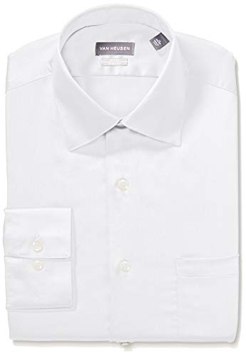(Van Heusen Men's Dress Shirts Fitted Lux Sateen Stretch Solid Spread Collar, White 17