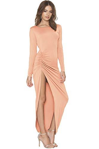 Asoiree Women's Backless Slit Jewel Neck Formal Long Sleeves Evening Prom Dress Ankle-Length Light Salmon
