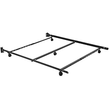 adjustable q46r lp low profile bed frame with keyhole cross arms and 5 2 locking rug roller legs full queen - Low Profile Bed Frame