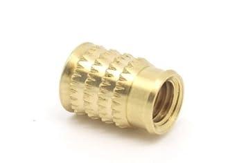 PACK OF 5 x M3 x 5.2mm THREADED BRASS INSERTS FOR PLASTIC Falcon Workshop Supplies Ltd