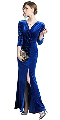 Ababalaya Bodycon 90s Women's Long Sapphire Evening Gown Velvet Retro Slit Side Formal rX4rqBxwT1