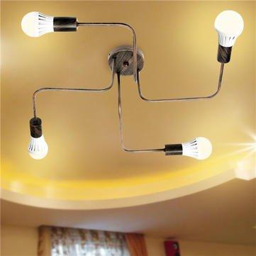 Ceiling Chandelier Lamp - Chandelier Pendant Light - E27 4Heads Vintage Industrial Pendant Metal Flush Mount Ceiling Lamp AC110-240V - Bronze (Ceiling Pendant Lamp)