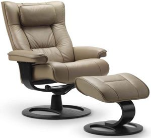 Fjords Regent Large Leather Recliner DR Frame Norwegian Ergonomic Scandinavian Lounge Reclining Chair Furniture Soft Line Genuine Nougat Leather Cherry Wood