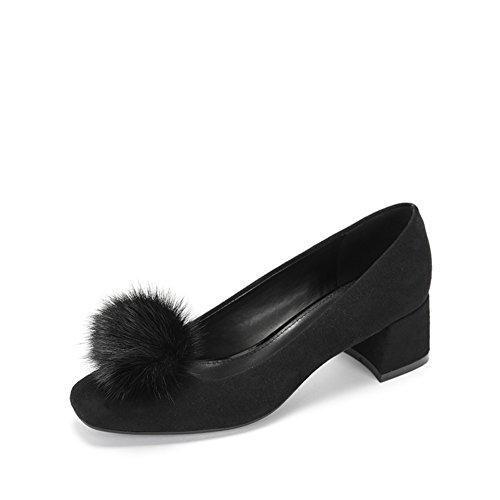 PUMPS Ladies Square Head Schuhe,Flacher Mund-Quadrat mit Mittlerer und Niedriger Ferse Schuhe-A Fußlänge=22.8CM(9Inch)