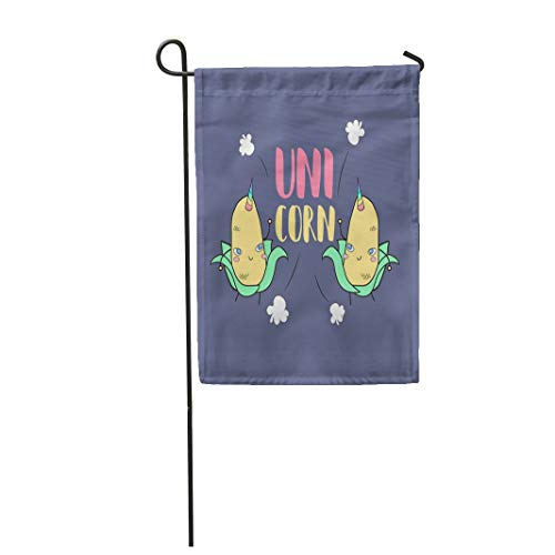 Tarolo Decoration Flag Lovely and Funny Baby Uni Corn Unicorn Happy Little Maize Dancing Jumping While Pop Explodes Around Colorful Horns Thick Fabric Double Sided Home Garden Flag 12