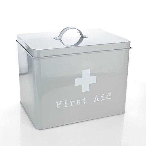 Harbour Housewares First Aid Medicine Storage Box in Vintage Metal - Grey - Aid Metal