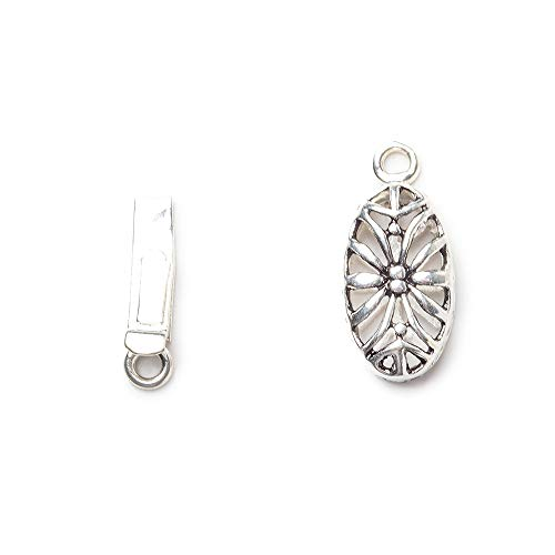 10 Silver Plated Filigree - 10mm Sterling Silver Plated Box Clasp Oval Filigree Floral 1 Piece