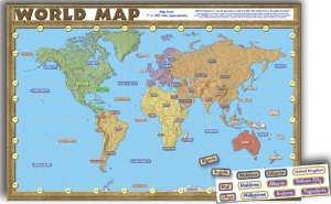 Teacher Created Resources World Map Bulletin Board (4410) (Geography Bulletin Board)