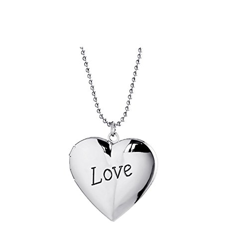 Photo Engraved Heart (Ztuo Friend Picture Photo Frame Memory Pocket Heart Locket Engraved Word Letter Love Necklace Girl Silver)