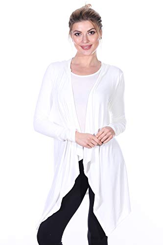 (82 Days Womens Casual Long Sleeve Drape Cardigan with Hood Plus Size Made in USA Pearl Large)