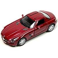 Plakalı Mercedes Benz SLS AMG 1:36 Metal Model Araba Kırmızı KT5349D