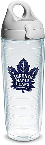 (Tervis NHL Toronto Maple Leafs Emblem Water Bottle with Grey Wb Lid, 24oz, Clear)
