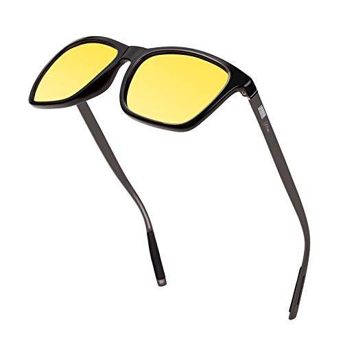 Square Aluminum Magnesium Frame Polarized Sunglasses Vintage Spring Temple Sun Glasses Men Women Retro Driving Eyewear UV400 (Yellow Lens/Black Frame)