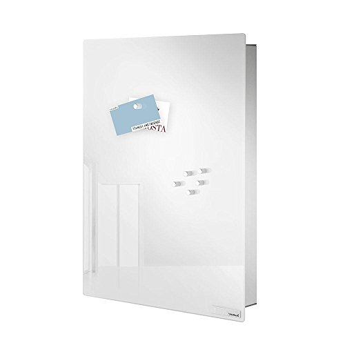 Velio Key Cabinet/Glass Magnetic Board silver/white/mat/H: 40cm/incl. 6 magnets