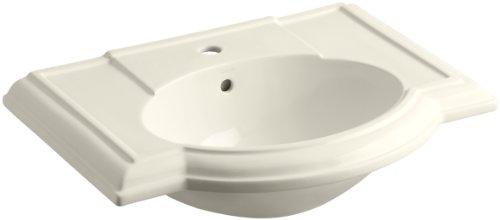 KOHLER K-2295-1-47 Devonshire Bathroom Sink Basin with Single-Hole Faucet Drilling, Almond (Basin Lavatory 47 Devonshire)