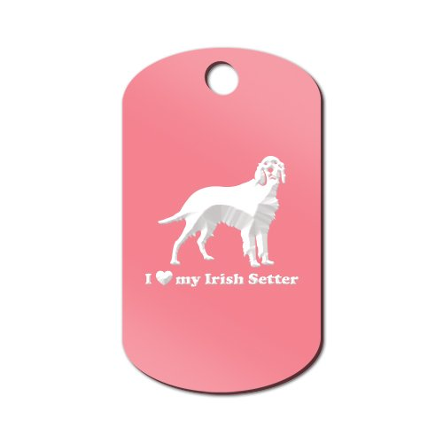 I Love My Irish Setter Engraved Keychain / GI Tag Mister Petlife red Pink (Setter Keychain)