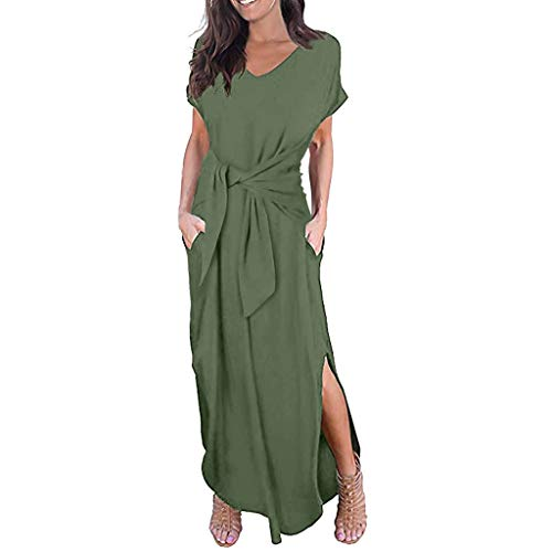 - ERLOU Women's Summer Dresses Casual Loose Dress Short Sleeve Round Neck Wrap with Belt Split Maxi Dress (Army Green, XL)