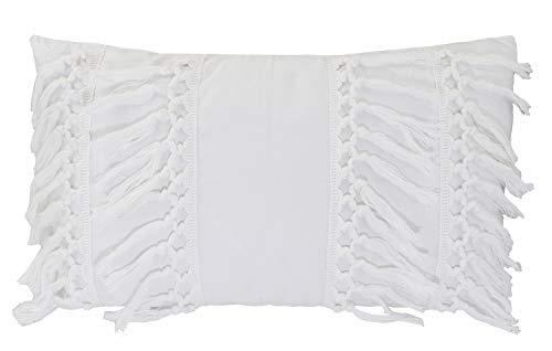 58a9099742a Amazon.com  Fennco Styles Stylish Fringe Tassels Decorative Cotton Throw  Pillow (White