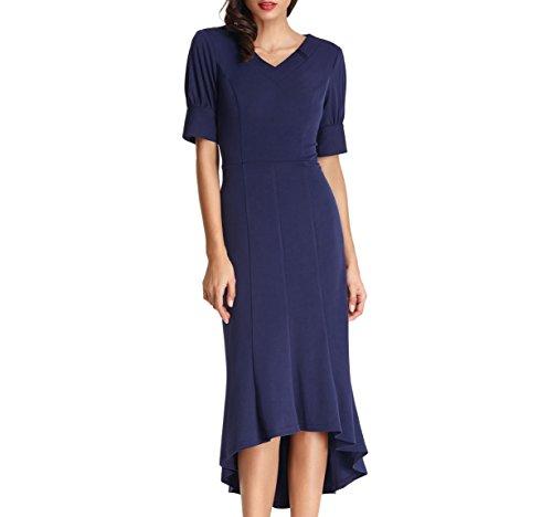 Bella Blue Dresses (Belle Poque Solid Women Mermaid Summer Dresses Party Gown Navy Blue Size L BP446-3)