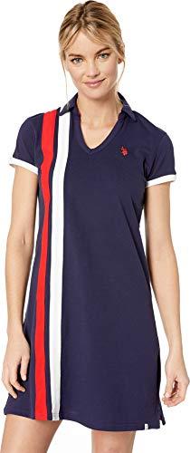 (U.S. Polo Assn. Women's Vert Stripe Dress Evening Blue Small)