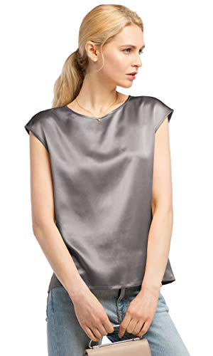 LilySil Silk Blouse for Women Short Sleeve Summer Cool Comfy Charmeuse Silk Tops for Ladies Grey M/8-10