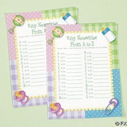 OTC - Baby Shower Game Baby Necessities from (A to Z), (8 1/2 Inches x 11 Inches) (2-Pack of 24) -