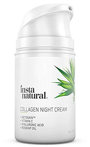 Collagen Night Anti Aging Cream – Anti Wrinkle Moisturizer for Face Neck- Helps Reduce Appearance of Wrinkles Fine Lines – Natural Organic – Vitamin C Hyaluronic Acid – InstaNatural – 1.7oz