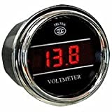 Voltmeter for Kenworth 2005 or previous - Bezel: Black - LED Color: Blue